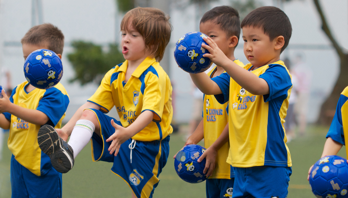 Soccer classes at Stanley Ho Sports Centre, Pok Fu Lam, Hong Kong